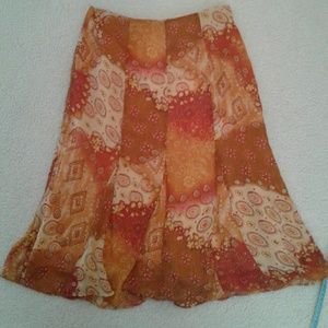 Orange red and brown skirt. Christopher and banks.